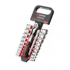 """Набір головок 3/8 """"6-24 мм., Подовжувач, рукоятка з храповим механізмом 72 зуба, 20ед., Cr-V STORM INTERTOOL ET-8015"""