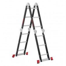 Сходи багатофункціональна трансформер 4х3ступені, сталевий профіль, 3380мм, 150 кг INTERTOOL LT-0023