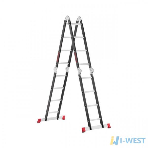 Сходи багатофункціональна трансформер 4х4ступені, сталевий профіль, 4450мм, 150 кг INTERTOOL LT-0024