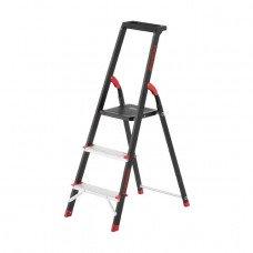 Драбина 3 ступені, лоток для інвентарю, сталевий профіль, висота верхнього ступеня 630мм, 409х667х1132мм, 150кг INTERTOOL LT-0053