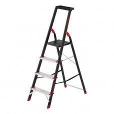 Драбина 4 ступені, лоток для інвентарю, сталевий профіль, висота верхнього ступеня 850мм, 433х821х1350мм, 150кг INTERTOOL LT-0054