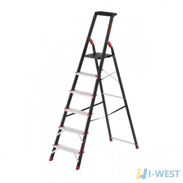 Драбина 6 ступенів, лоток для інвентарю, сталевий профіль, висота верхнього ступеня 1280мм, 481х1138х1787мм, 150кг INTERTOOL LT-0056