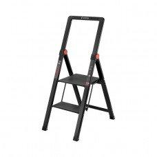 """Драбина алюмінієва """"Black Slim"""", 2 сходинки, висота верхньої сходинки 456мм, 150 кг, STORM INTERTOOL LT-5002"""