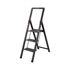 """Драбина алюмінієва """"Black Slim"""", 3 сходинки, висота верхньої сходинки 684мм, 150 кг, STORM INTERTOOL LT-5003"""
