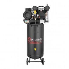 Компресор 100 л , вертикальний , 3 кВт , 220 В , 10 атм , 500 л / хв , 2 циліндра INTERTOOL PT - 0017  (PT-0017)