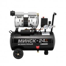 Компресор Мінськ - 24 БМ , 24л , 1.1 кВт , 220 В , 8 атм , 145 л / хв , малошумний , безмасляний , 2 циліндра INTERTOOL PT - 0019  (PT-0019)