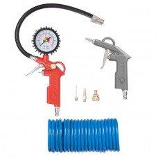 Набір пневмоинструментов 6 одиниць , пістолет для накачування шин , продувний пістолет , шланг поліуретановий 5м . , Три наконечника INTERTOOL PT -1500  (PT-1500)