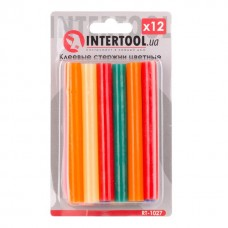 Комплект кольорових клейових стрижнів 11.2 мм*100мм, 12шт INTERTOOL RT-1027