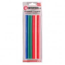 Комплект кольорових клейових стрижнів 11.2 мм*200мм, 12шт INTERTOOL RT-1028