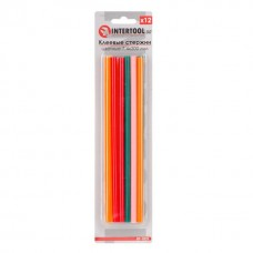 Комплект кольорових клейових стрижнів 7.4 мм*200мм, 12шт INTERTOOL RT-1032