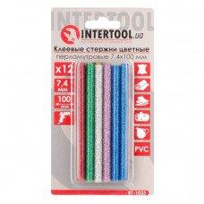 Комплект кольорових перламутрових клейових стрижнів 7.4 мм*100мм, 12шт INTERTOOL RT-1033