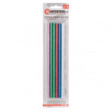 Комплект кольорових перламутрових клейових стрижнів 7.4 мм*200мм, 12шт INTERTOOL RT-1034