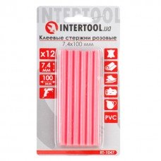 Комплект рожевих клейових стрижнів 7.4 мм*100мм, 12шт. INTERTOOL RT-1047
