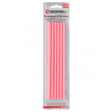 Комплект рожевих клейових стрижнів 7.4 мм*200мм, 12шт. INTERTOOL RT-1048