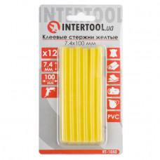 Комплект жовтих клейових стрижнів 7.4 мм*100мм, 12шт. INTERTOOL RT-1050