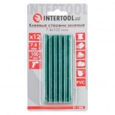 Комплект зелених клейових стрижнів 7.4 мм*100мм, 12шт. INTERTOOL RT-1058