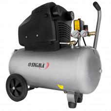 Компресор двоциліндровий безмасляний 2.2 кВт 365л/хв 8бар 50л (2 крана) Sigma (7042311) SIGMA