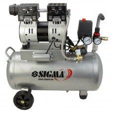 Компрессор двухцилиндровый безмасляный 1.1кВт 154л/мин 8бар 30л Sigma (7042531) SIGMA