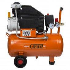 Компресор одноциліндровий 1.5 кВт 198л/хв 8бар 24л (2 крана) Grad (7043535) SIGMA