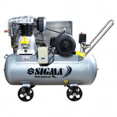 Компрессор ременной двухцилиндровый 380В 4кВт 678л/мин 10бар 100л Sigma (7044521) SIGMA