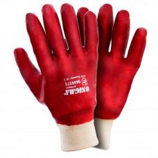 Перчатки трикотажные с ПВХ покрытием (красные манжет) 120 пар Sigma (9444371) SIGMA