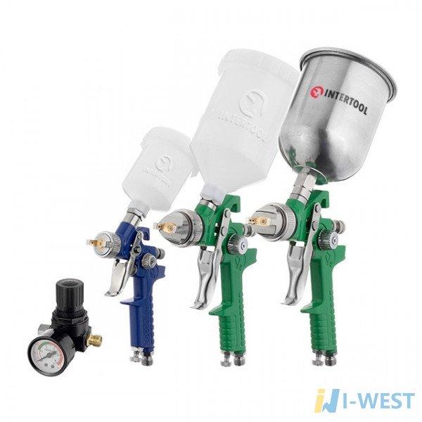 Набір з 3-х фарбопультів HVLP, 0,8мм, 1,3мм, 1,7мм, регулятор тиску, два пластикових та один металевий бачок INTERTOOL PT-1505
