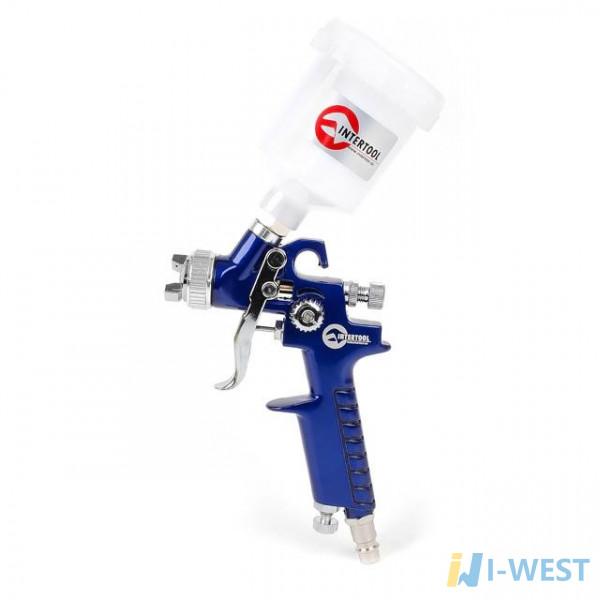 Пістолет фарбувальний пневматичний HVLP міні , форсунка 0,8 мм, верхня подача, бачок 125 мл 3,0 бар INTERTOOL PT-0101