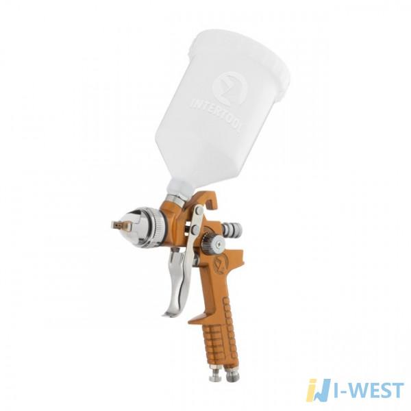 HVLP BRONZE PROF Фарборозпилювач 1,5 мм, верхній пластиковий бачок 600 мл INTERTOOL PT-0110