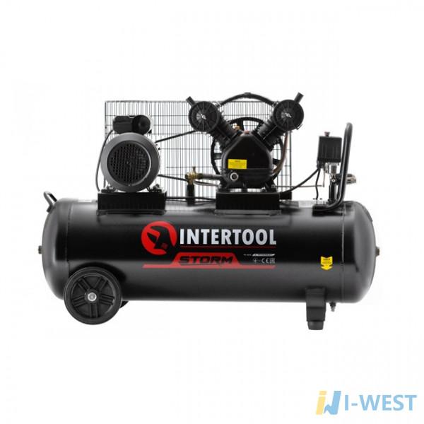 Компресор 100 л, 4 HP, 3 кВт, 220 В, 8 атм, 500 л/хв, 2 циліндра INTERTOOL PT-0014