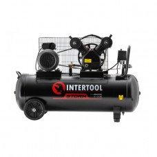 Компрессор 100 л, 4 HP, 3 кВт, 220 В, 8 атм, 500 л/мин, 2 цилиндра INTERTOOL PT-0014