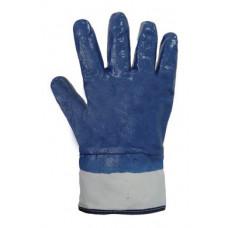Перчатки рабочие с нитриловым покрытием жесткий манжет синие (69433) Перчатка-центр