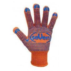 Рукавиці трикотажні помаранчеві з ПВХ крапкою 78412 (69877) Перчатка-центр