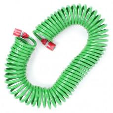 Шланг для полива спиральный 15 м с конекторами + aдаптер универсальный для конектора 1/2