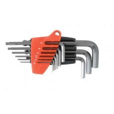 Набір Г-образних шестигранних ключів 9 шт. з кулястим наконечником, 1,5-10 мм, S2, PROF INTERTOOL HT-1813