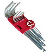 Набір Г-образних шестигранних ключів з кулястим наконечником, 9 од.,1,5-10 мм, Cr-V, 55 HRC Big INTERTOOL HT-0603