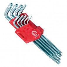 Набір Г-подібних ключів TORX з отвором 9 шт, Т10-Т50, Cr-V, Big INTERTOOL HT-0606