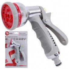 Пістолет-розпилювач для поливу хромований 8-ми функціональний (центральний, туман, душ, кутовий, повний, проливний дощ, конічний, плоский.) AB INTERTOOL GE-0004
