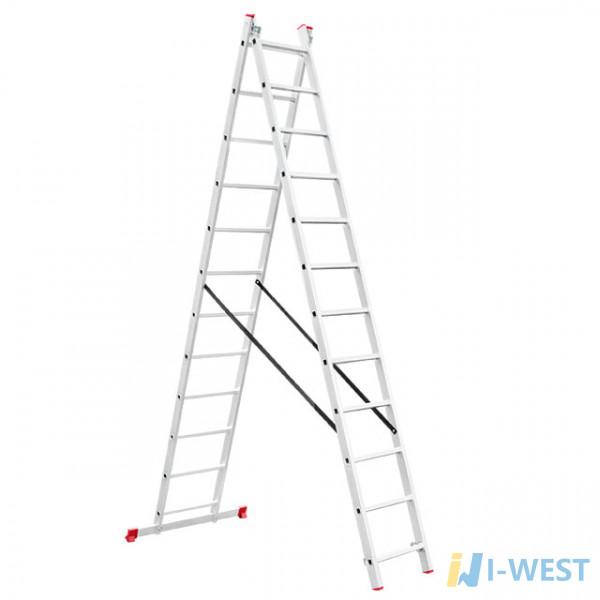 Драбина алюмінієва 2-х секційна універсальна розкладна 2x12 ступ. 5,93 м INTERTOOL LT-0212