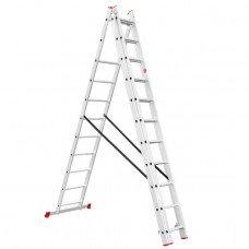 Лестница алюминиевая 3-х секционная универсальная раскладная 3x11 ступ. 7,33 м INTERTOOL LT-0311