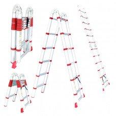 Драбина алюмінієва телескопічна універсальна розкладна 12 ступ., 3,85 м INTERTOOL LT-3039