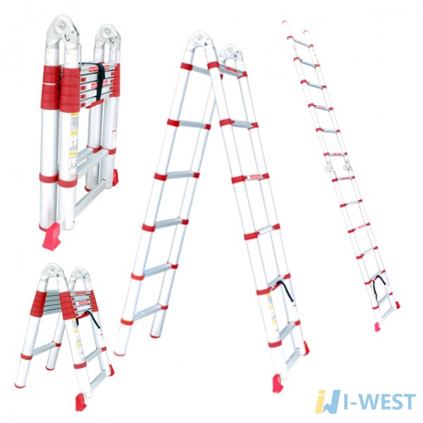 Драбина алюмінієва телескопічна універсальна розкладна 12 ступ., 3,78 м INTERTOOL LT-3039