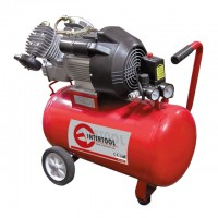 Компрессор 50 л, 4 HP, 3 кВт, 220 В, 8 атм, 420 л/мин, 2 цилиндр. INTERTOOL PT-0007