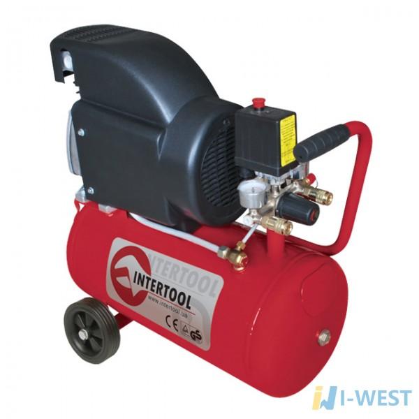 Компресор 24 л, 2 HP, 1,5 кВт, 220 В, 8 атм, 206 л/хв INTERTOOL PT-0010