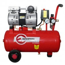 Компресор 24 л, 1,5 HP, 1,1 кВт, 220 В, 8 атм, 145 л/хв, малошумний, безмасляний, 2 циліндра INTERTOOL PT-0022