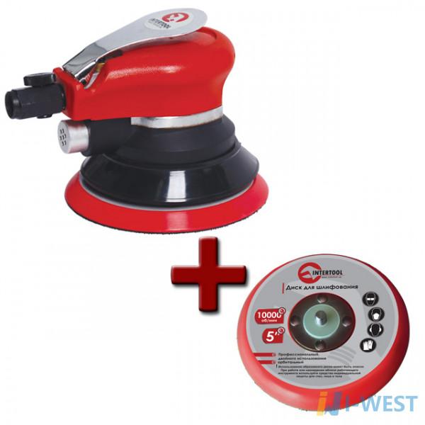 Шліфувальна пневматична ексцентрикова для оздоблювальних робіт INTERTOOL PT-1006
