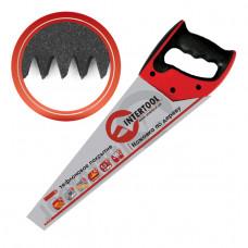 Ножовка по дереву 450 мм с тефлоновым покрытием, каленый зуб, 3-ая заточка INTERTOOL HT-3108