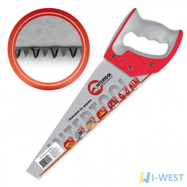 Ножовка по дереву,400 мм,7-8 TPI,зуб-3D,каленый зуб,тефлоновое покрытие полотна 2-х компонентная рукоятка Matrix 23549