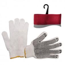 Перчатка х/б трикотаж с точечным покрытием PVC на ладони (белая) INTERTOOL SP-0005