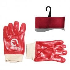 Перчатка маслостойкая х/б трикотаж покрытая PVC c вязаным манжетом (красная) (ящик 120пар) INTERTOOL SP-0006W