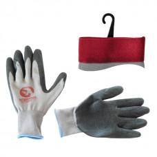 Перчатка белая вязанная синтетическая, покрытая серым рифленым латексом на ладони 10